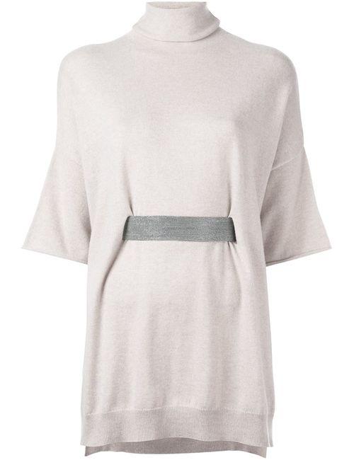 Brunello Cucinelli   Женское Nude & Neutrals Belted Turtleneck Knitted Top