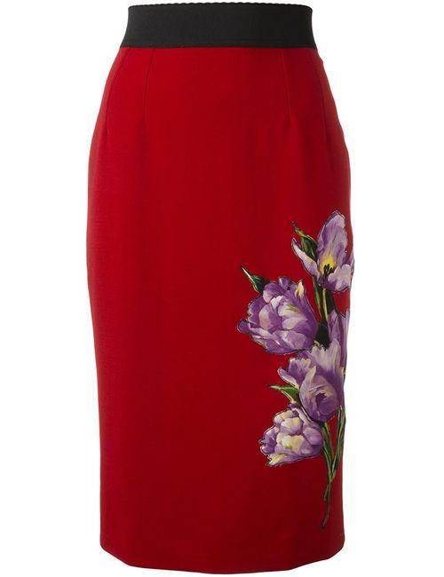 Dolce & Gabbana   Женская Красная Юбка С Аппликацией