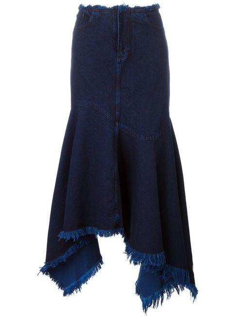 Marques Almeida | Женское Синий Frayed Asymmetric Denim Skirt