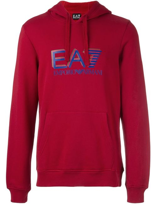 EA7 EMPORIO ARMANI | Мужское Красный Logo Print Hoodie