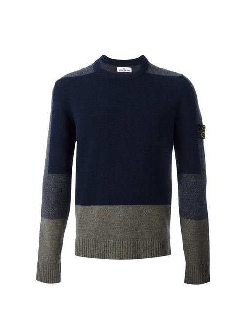 Stone Island | Мужское Синий Colour Block Knitted Sweater