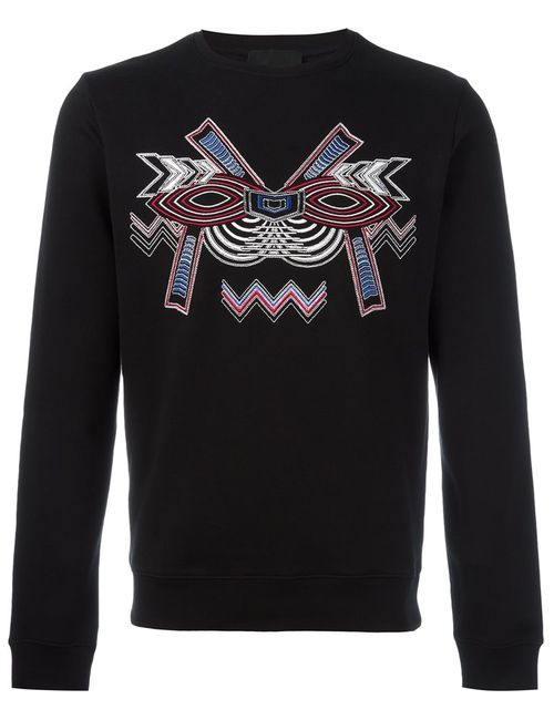 Les Hommes | Мужское Чёрный Geometric Embroidery Sweatshirt
