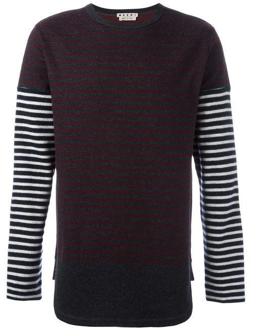 Marni | Мужское Серый Striped Longsleeved T-Shirt