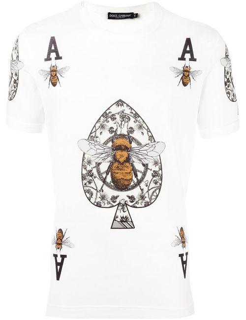Dolce & Gabbana | Мужское Белый Bee And Crown Print T-Shirt