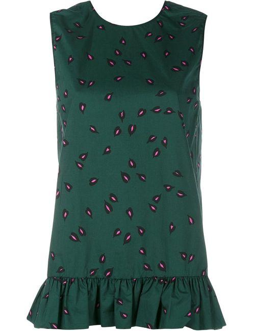 Marni | Женское Зелёный Sleeveless Print Ruffle Top