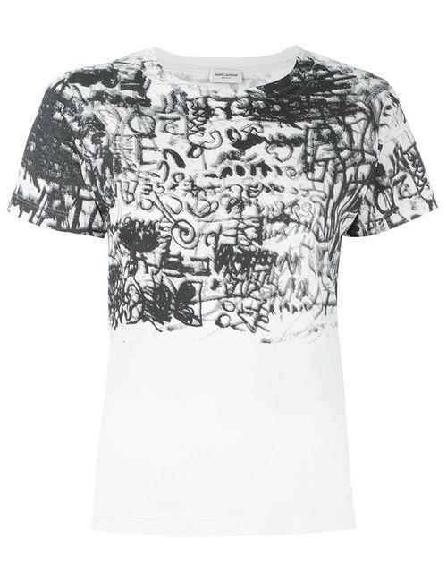 Saint Laurent | Женское Белый Graffiti Print T-Shirt