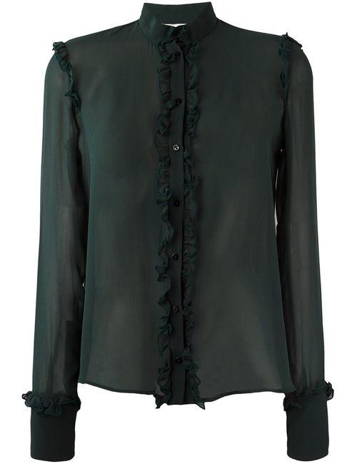Amen | Женская Зелёная Прозрачная Блузка С Оборками