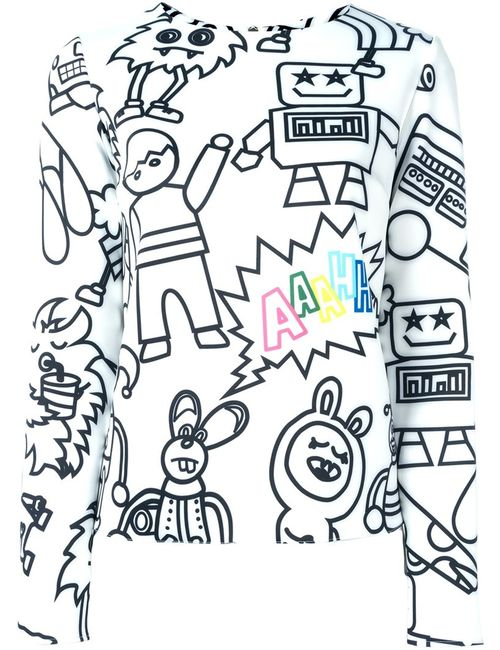 Mira Mikati | Женское Белый Cartoon Characters Print Sweatshirt