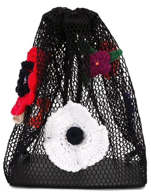 Christopher Kane | Чёрный Crochet Flower Mesh Backpack
