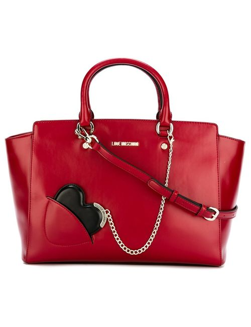 Love Moschino | Красный Chained Heart Detail Tote
