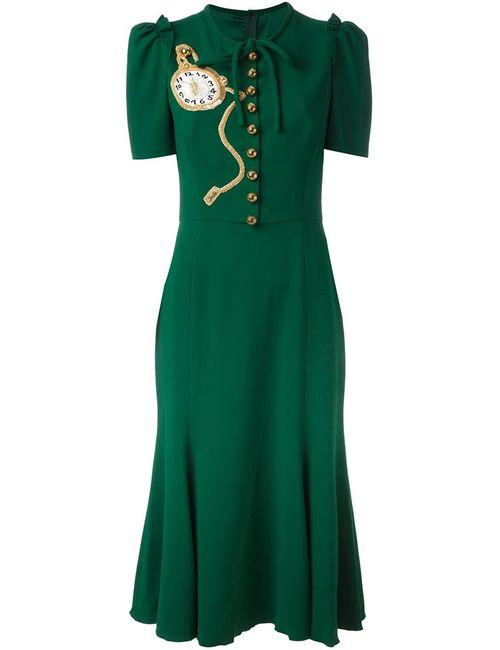 Dolce & Gabbana | Женское Зелёное Платье С Аппликацией Часов
