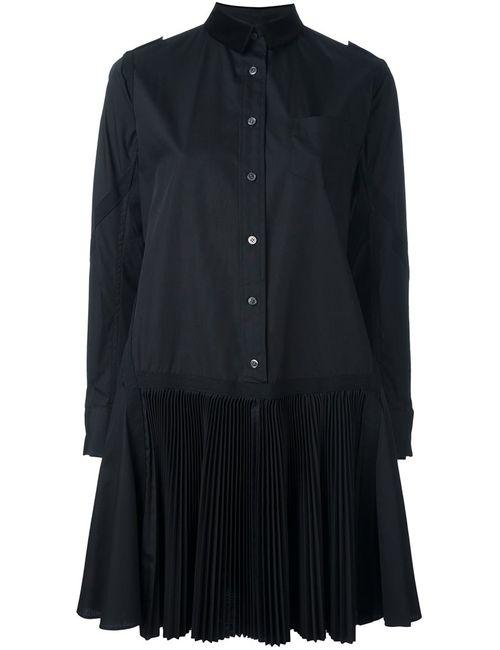 Sacai   Женское Чёрный Pleated Poplin Shirt Dress