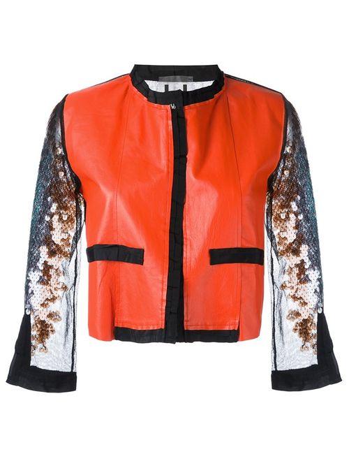 Aviù | Женское Красный Cropped Sequin Sleeve Jacket