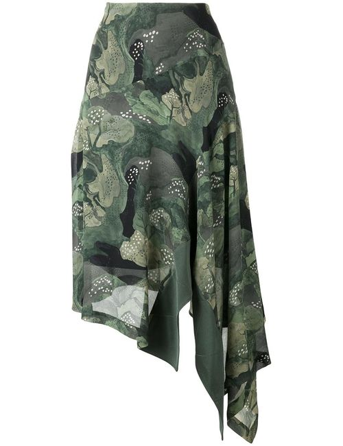 Antonio Marras | Женское Зелёный Trees Print Asymmetric Skirt 42 Polyester/Acetate/Viscose/Cupro