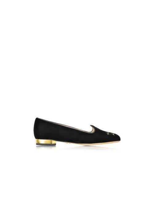 Charlotte Olympia | Женское Чёрный Charlottes Web Черные Бархатные Туфли На Плоской