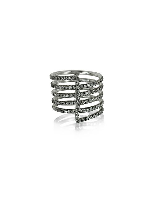 Bernard Delettrez | Золотой Four Bands 9k Ring W/Grey Diamonds Pave