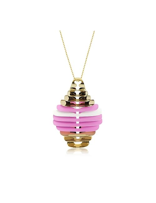 Pluma | Золотой Pink And White Fishbone Pendant Necklace