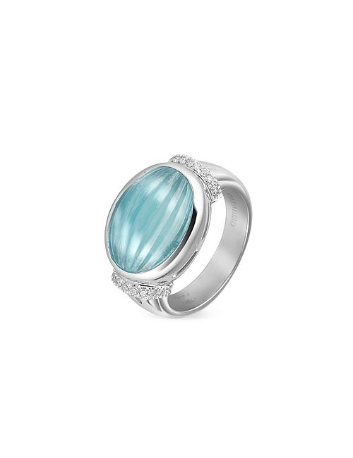 Roma Imperiale | Aqua Carved Marine And Diamond 18k Gold Ring