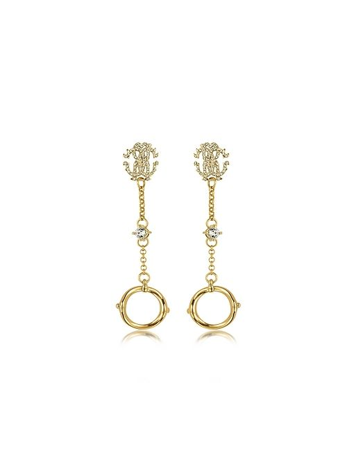 Roberto Cavalli | Золотой Rc Lux Tone Earrings W/Crystals