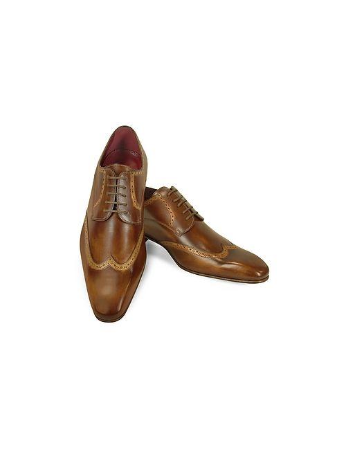 Fratelli Borgioli | Коричневый Handmade Light Italian Leather Wingtip Dress Shoes