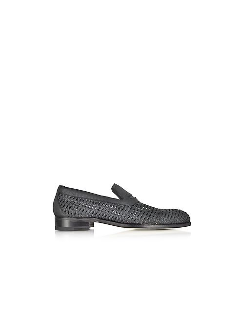 A. Testoni | Чёрный Woven Leather Slip-On Shoe