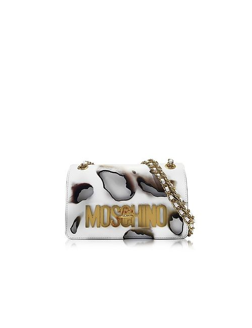 Moschino | Белый White Leather Shoulder Bag