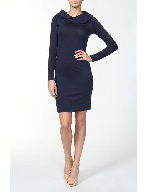 DuckyStyle | Женское Синее Платье Трикотажное С Воротом