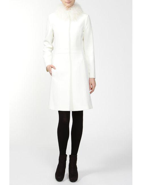Blugirl | Женское Белое Пальто С Мехом