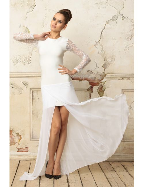 Tutto Bene | Женское Белое Платье С Кружевом