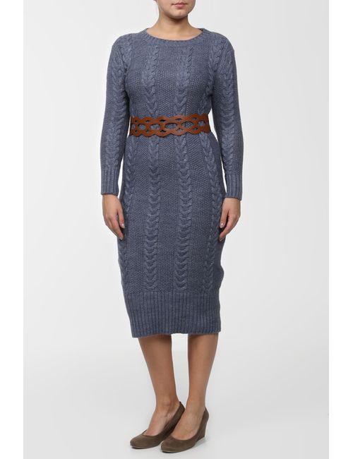 OZGU | Женское Синее Платье С Ремнем