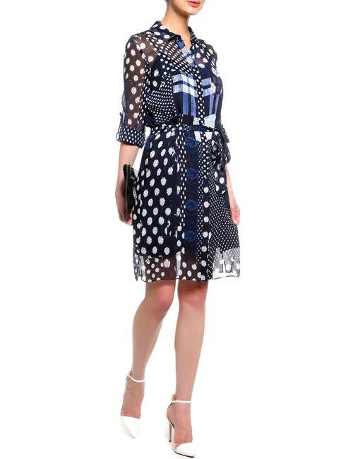 Diane Von Furstenberg   Женское Многоцветное Платье-Рубашка С Поясом
