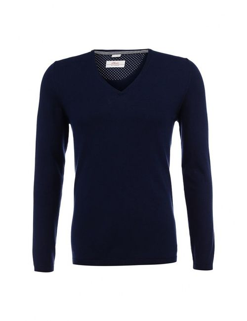 s.Oliver | Мужской Синий Пуловер