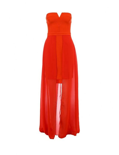 River Island | Женское Красное Платье-Бандо С Шифоновым Шлейфом