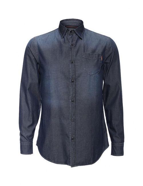 Trussardi Jeans   Мужская Синяя Рубашка Джинсовая