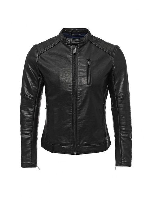 Sisley | Мужская Чёрная Куртка Кожаная