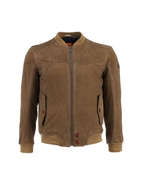 BOSS Orange | Мужская Коричневая Куртка Кожаная