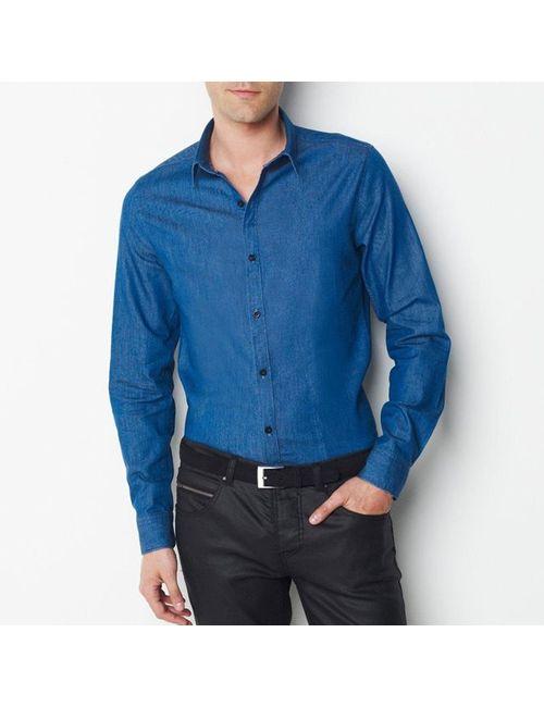 SOFT GREY | Мужская Синяя Рубашка Из Денима