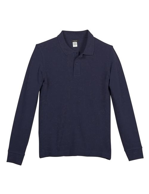 Мини-цена | Мужская Синяя Футболка-Поло С Длинными Рукавами Из Трикотажа-Пике