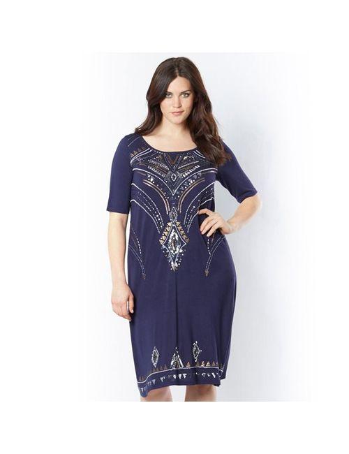 TAILLISSIME | Женское Синее Платье Расшитое Бусинами