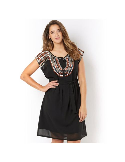 TAILLISSIME | Женское Чёрное Платье С Манишкой И Вышивкой