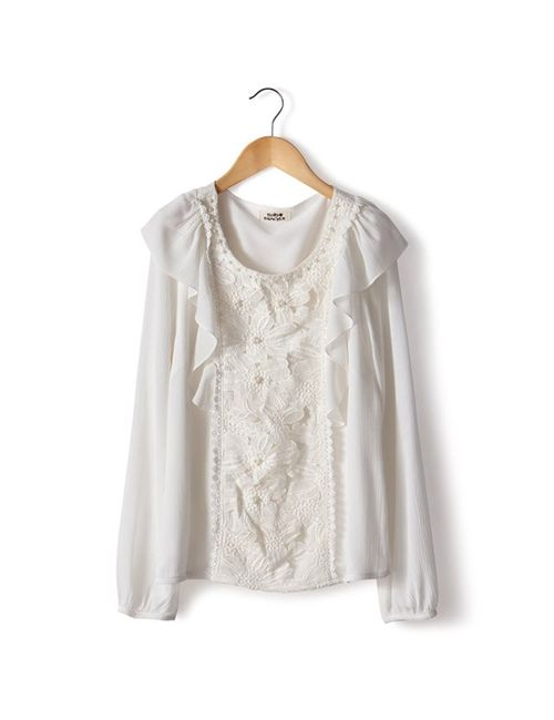 Molly Bracken | Женская Белая Блузка С Вышитой Манишкой 100 Хлопка