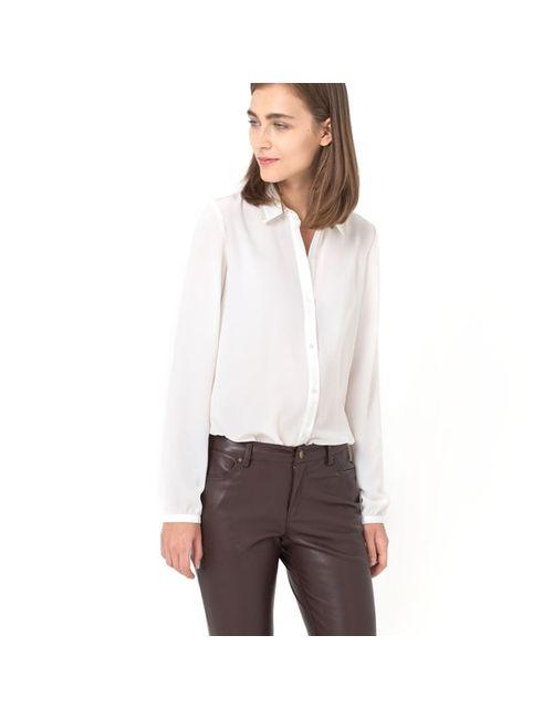 Мини-цена | Женская Чёрная Рубашка С Воротником С Отделкой