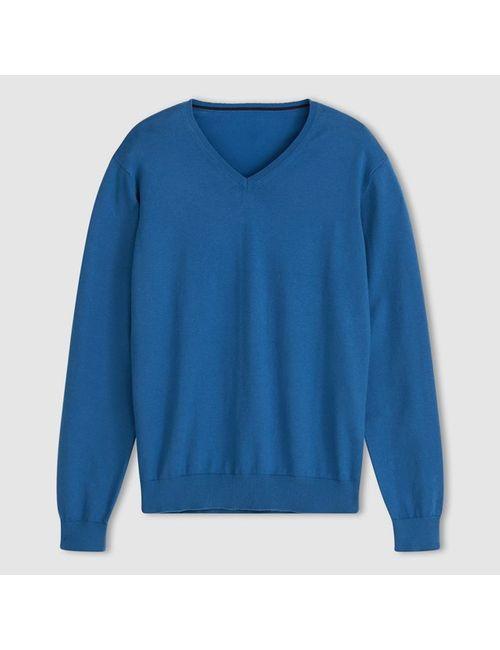 R essentiel | Мужской Синий Пуловер С V-Образным Вырезом 80 Хлопка