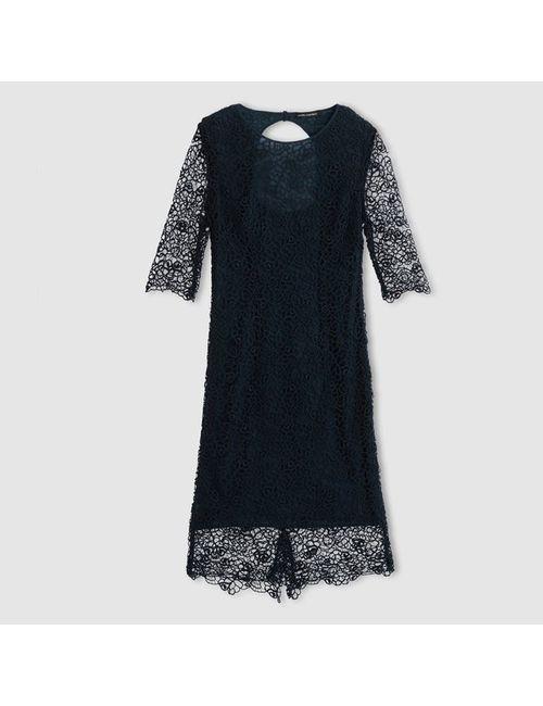 LAURA CLEMENT   Женское Синее Платье Из Гипюра