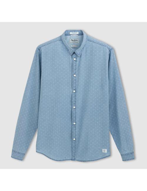 Pepe Jeans | Мужская Светлый Индиго Рубашка С Длинными Рукавами Caufield
