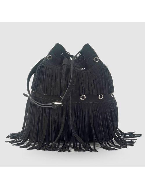 SOFT GREY | Женская Чёрная Сумка С Бахромой