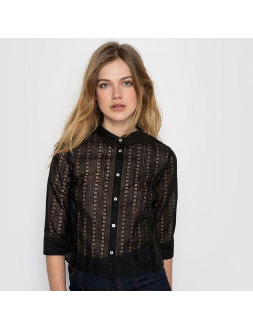 MADEMOISELLE R | Женская Чёрная Рубашка Из Органзы С Вышивкой