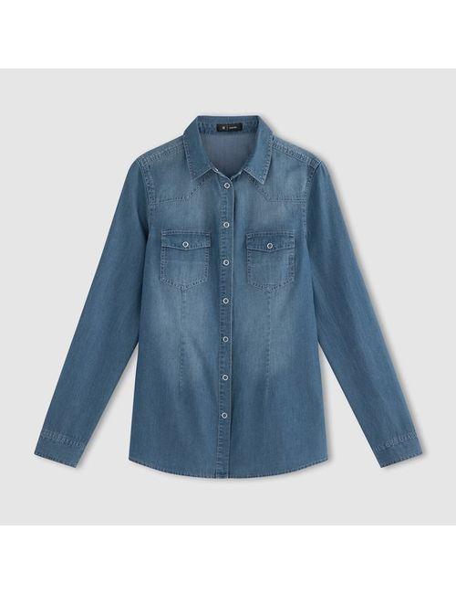R essentiel | Женская Синяя Рубашка Из Денима С Длинными Рукавами