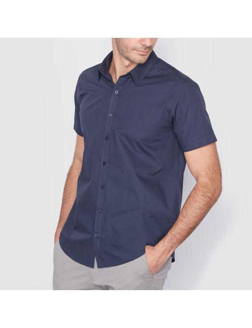 Мини-цена   Мужская Синяя Рубашка С Короткими Рукавами