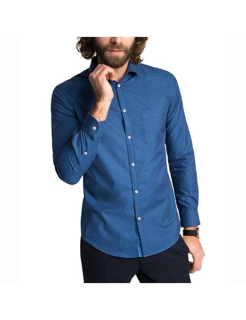 Esprit   Мужская Синяя Рубашка С Рисунком С Длинными Рукавами 100